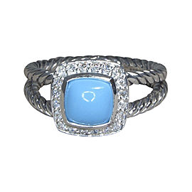 David Yurman Petite Albion 925 Sterling Silver with Turquoise and .17ct Diamond Ring Size 7