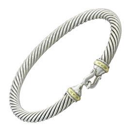 David Yurman 925 Sterling Silver 18K Yellow Gold Cable Link Hook Bracelet
