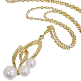 Mikimoto 18K Yellow Gold Pearl Pendant Necklace