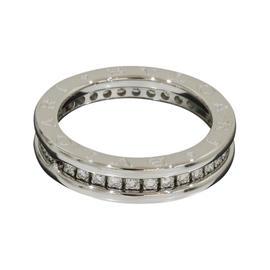 Bulgari 18K White Gold B.zero1 1-Band Pave Diamonds Ring Size 6.25
