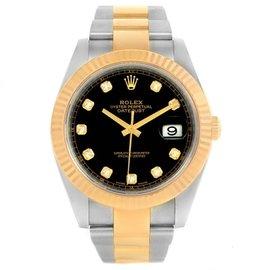 Rolex Datejust 126333 Steel 18K Yellow Gold Black Diamond Dial 41mm Mens Watch
