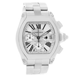 Cartier Roadster W62019X6 Chronograph Stainless Steel Silver Dial Automatic 43mm Mens Watch