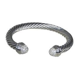 David Yurman 925 Sterling Silver with Diamonds Cuff Bracelet