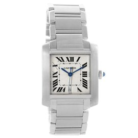 Cartier Tank Francaise W51002Q3 Stainless Steel Silver Dial Automatic 28mm Unisex Watch