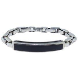 David Yurman Chevron Sterling Silver Onyx Bracelet