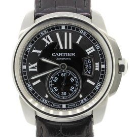 Cartier Calibre 3389 Stainless Steel & Black Roman Numeral Dial 42mm Mens Watch