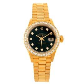 Rolex President 69178 18K Yellow Gold Diamond Black Dial 26mm Womens Watch