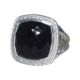 David Yurman Albion Sterling Silver Onyx 0.35ct. Diamond Ring Size 7