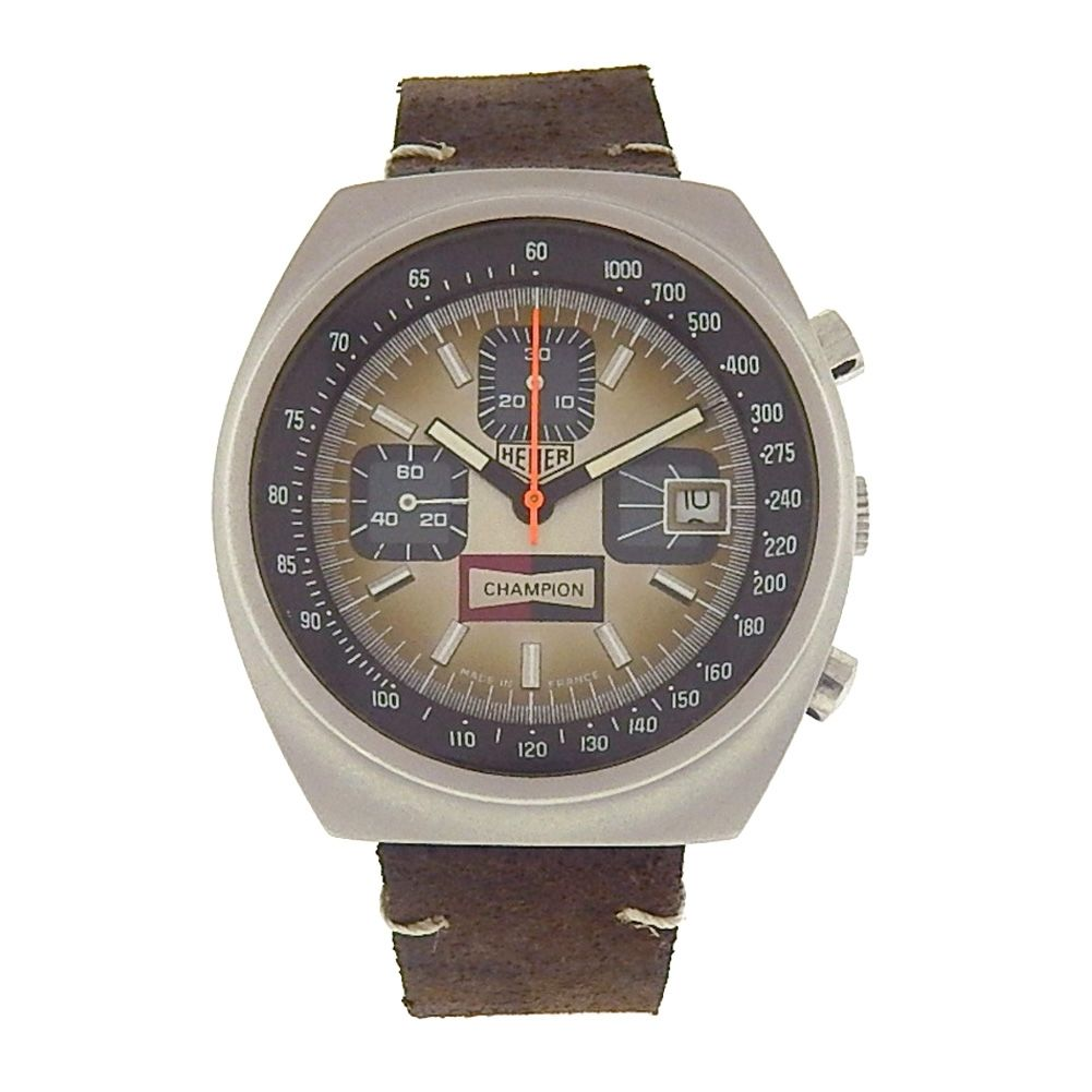 "Image of ""Tag Heuer Vintage Champion 1614 Stainless Steel / Brown Leather 38mm"""