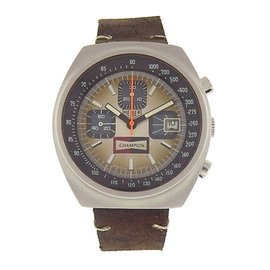 Tag Heuer Vintage Champion 1614 Stainless Steel / Brown Leather 38mm Mens Watch