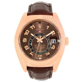 Rolex Sky-Dweller 326135 18K Rose Gold Everose Chocolate Brown 42mm Mens Watch