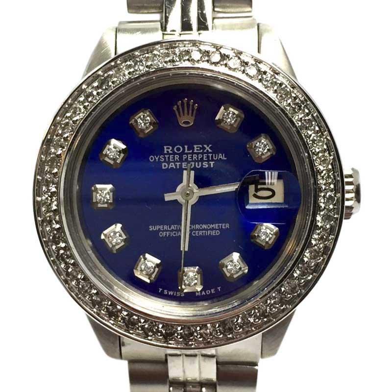 "Image of ""Rolex Datejust Stainless Steel wBlue Diamond Dial & Diamond Bezel"""