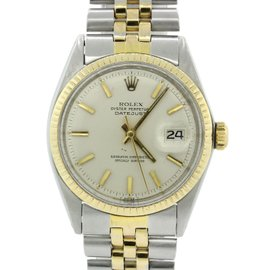 Rolex Datejust 1601 14K Yellow Gold & Stainless Steel Silver Stick Dial Vintage 36mm Unisex Watch