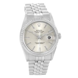 Rolex Datejust 16234 Silver Baton Dial Stainless Steel White Gold 36mm Mens Watch