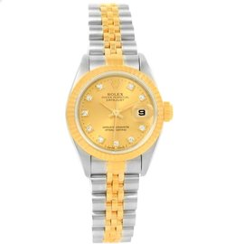 Rolex Datejust 69173 Stainless Steel & Yellow Gold Diamod Dial 26mm Womens Watch