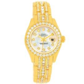 Rolex Pearlmaster 80298 Yellow Gold Triple Row Diamond Bracelet 29mm Womens Watch