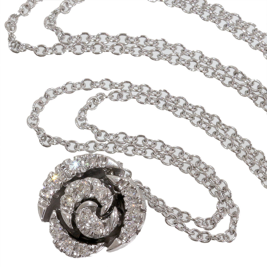"Image of ""Ponte Vecchio 18K White Gold & 0.13ct Diamond Rose Pendant Necklace"""