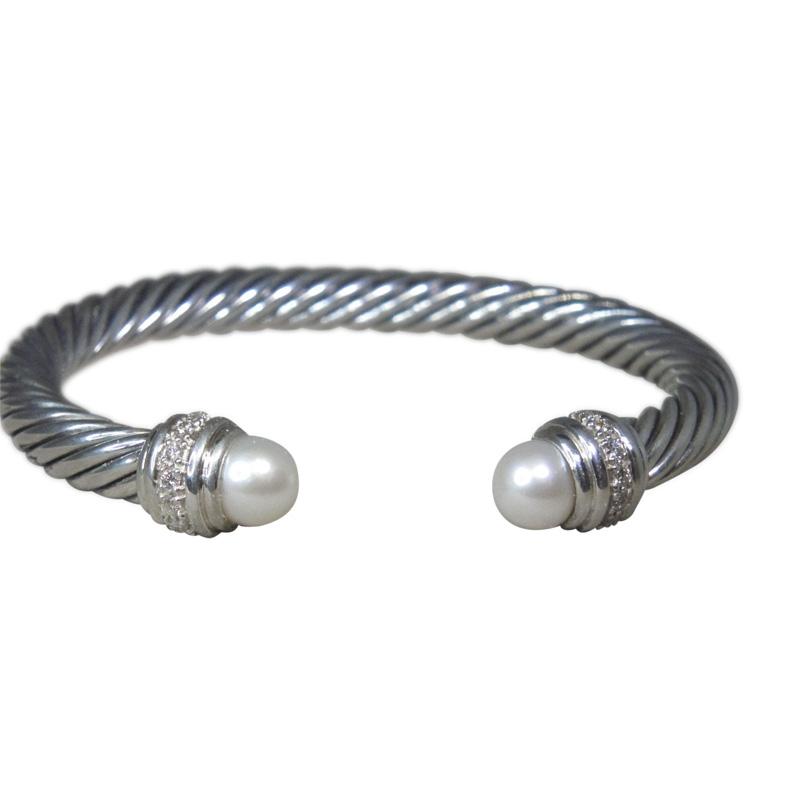 """""David Yurman Sterling Silver Pearl Diamond Cuff Bracelet"""""" 1725937"