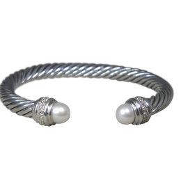 David Yurman Sterling Silver Pearl Diamond Cuff Bracelet
