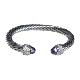 David Yurman Sterling Silver with Hematine and Diamond Cuff Bracelet