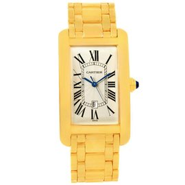 Cartier Tank Americaine W26031K2 18K Yellow Gold Automatic 27mm Mens Watch
