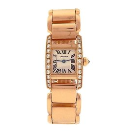 Cartier Tankissime 2801 18K Rose Gold Quartz Diamonds Bezel Silver 20mm Womens Watch