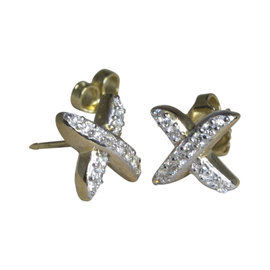 David Yurman 18K Yellow Gold with Diamond Stud Earrings