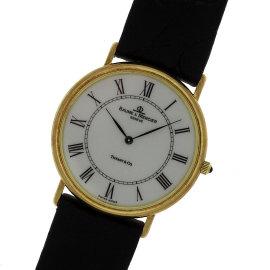 Baume & Mercier 14K Yellow Gold & Leather White Dial Quartz 32mm Mens Watch
