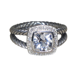 David Yurman Petite Albion 925 Sterling Silver with White Topaz and Diamond Ring Size 7