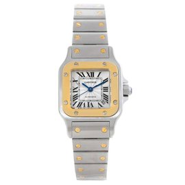 Cartier Santos W20057C4 Stainless Steel & 18K Yellow Gold 24mm Womens Watch