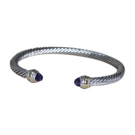 David Yurman 14K Yellow Gold & Sterling Silver and Amethyst Cable Cuff Bracelet