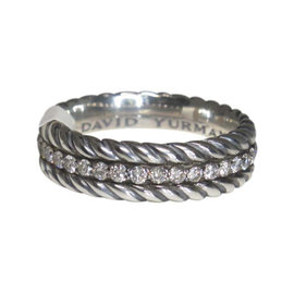 David Yurman 925 Sterling Silver with Diamond Cable Ring Size 12