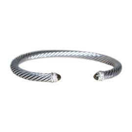 David Yurman 925 Sterling Silver with Diamond and Smoky Quartz Cable Cuff Bracelet