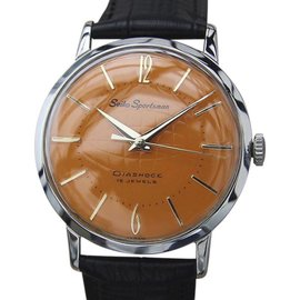 Seiko Sportsman Stainless Steel & Leather Manual 34mm Mens Watch 1960s
