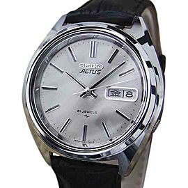 Seiko Actus Stainless Steel & Leather Automatic 37mm Mens Watch 1970s