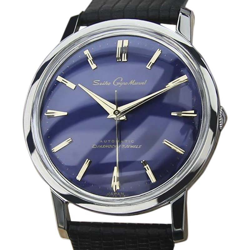 """Image of """"Seiko Gyro Marvel Stainless Steel & Leather Automatic 36mm Mens Watch"""""""