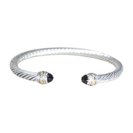 David Yurman 14K Yellow Gold & 925 Sterling Silver Quartz Cable Cuff Bracelet