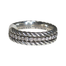 David Yurman 925 Sterling Silver Diamond Cable Ring Size 12