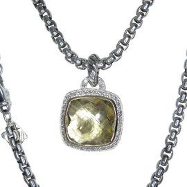 David Yurman 18K & Sterling Silver Albion Champagne Citrine & Diamond Pendant