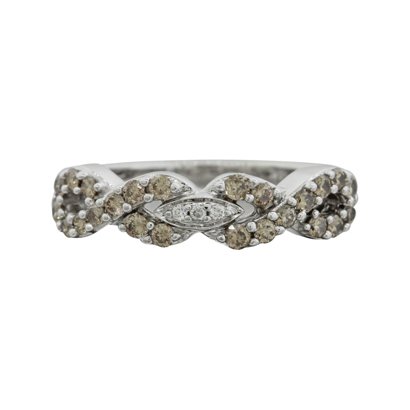 "Image of ""LeVian 14K White Gold 0.38ct. Diamond Infinity Band Ring Size 5.00"""