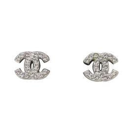 Chanel Logo Silver Tone Hardware Rhinestone Earrings
