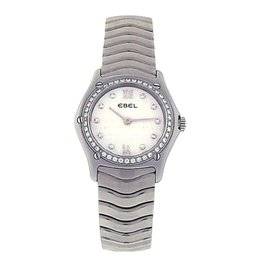 Ebel Classic Wave Stainless Steel Diamond Mother of Pearl Dress 27mm Womens Watch