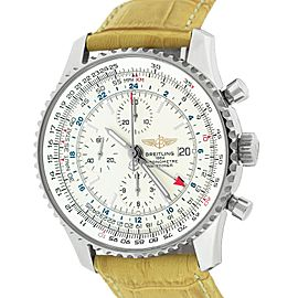 Breitling Navitimer World Stainless Steel / Leather A24322 Automatic 46mm Mens Watch