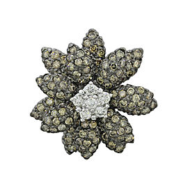 LeVian 14K White Gold with Diamond Flower Ring Size 7