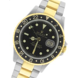 Rolex GMT-Master II 16713 Two-Tone Black Date Dial 40mm Mens Watch