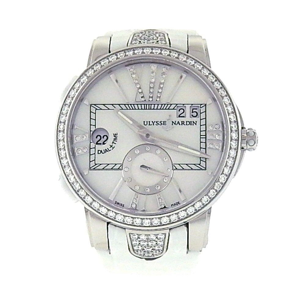 "Image of ""Ulysse Nardin Executive Dual Stainles Steel / Leather Diamond 40mm"""