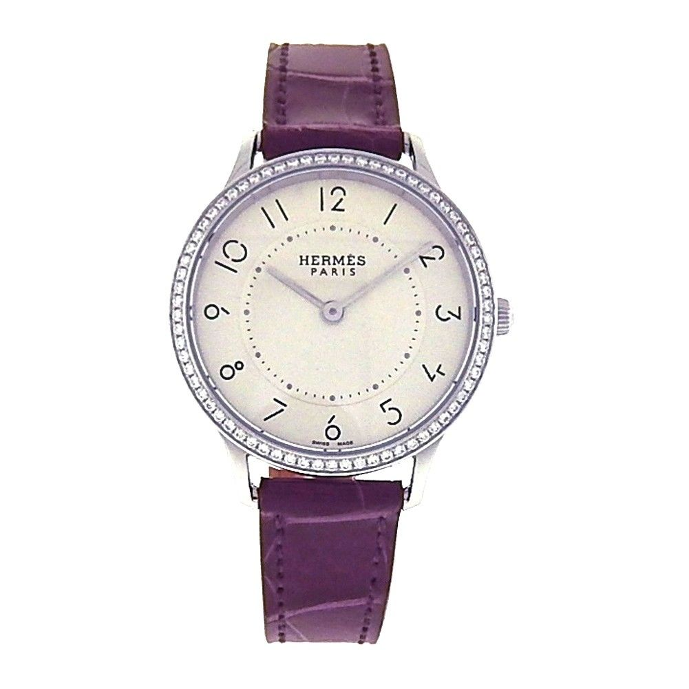 """Image of """"Hermes Boutique Stainless Steel / Leather Diamond 32mm Womens Watch"""""""