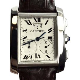 Cartier Stainless Steel / Leather Automatic 28mm Mens Watch