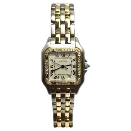 Cartier Panthere 18K Yellow Gold & Stainless Steel Quartz 27mm Womens Watch