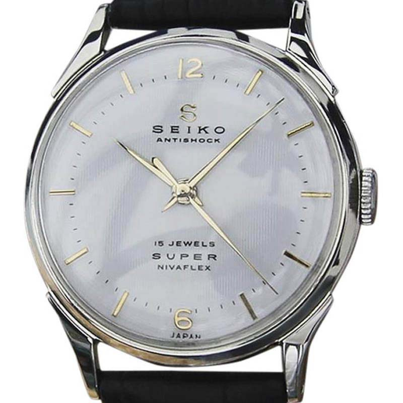 """Image of """"Seiko Super Stainless Steel & Leather Manual 33mm Mens Watch 1960s"""""""